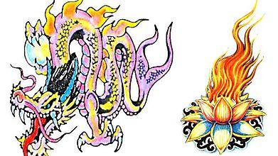 Зарисовка дракона и пламенного лотоса