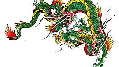 Тату зелёного дракона из мистического Востока