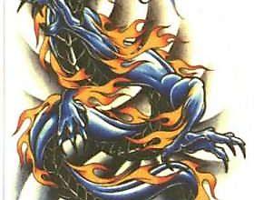 Тату синего дракона на спирали