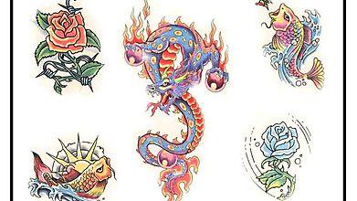 Тату дракона, рыб и цветов