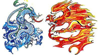 Водный дракон противостоит пламенному грифону