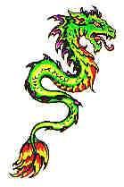 Маленькая татушка с зелёным драконом