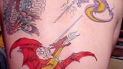 Сражение драконовых всадников - тату на всю спину