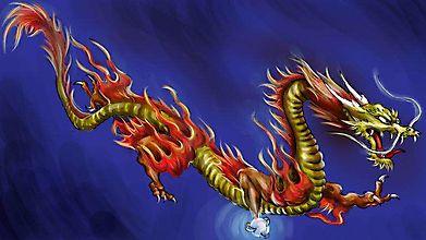 Китайский дракон летит в грозовом небе