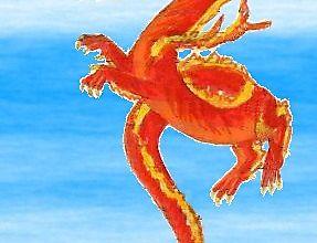 Детский рисунок огнедышащего дракончика
